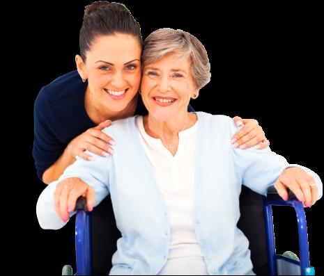 Caring adult daughter accompanying senior